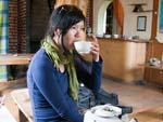 Sonya enjoying some tea after a long walk
