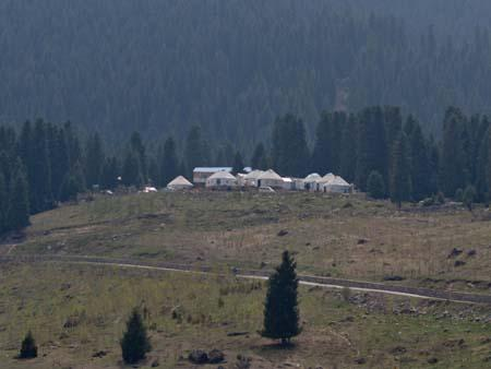 View of Kyrgyz yurts on a hill