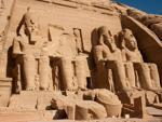 Four colossal statues of Ramesses II outside the Great Temple