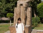 Sonya next to Ramesses V sculpture