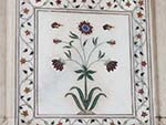 Marble inlay flower found on the columns of the Diwan-i-Khas
