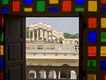 Stained glass windows found in may rooms of the Hawa Mahal