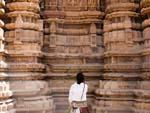 Sonya admiring the architecture of the Kandariya Mahadev Temple