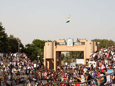 The Indian welcome gate seen after crossing the Pakistan-India border
