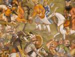 Frescoes in the music room of Chehel Sotun Palace depicting battles between the Uzbeks