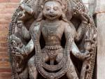 Hanuman appears in Tantric form as the four-armed Hanuman-Bhairab